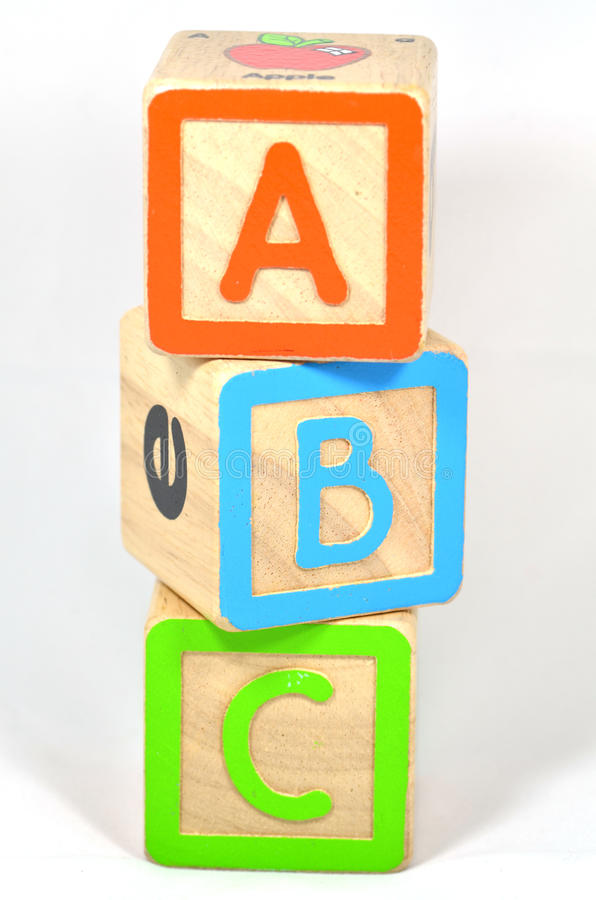 ABC Blocks. ABC building blocks on isolated white background stock photos