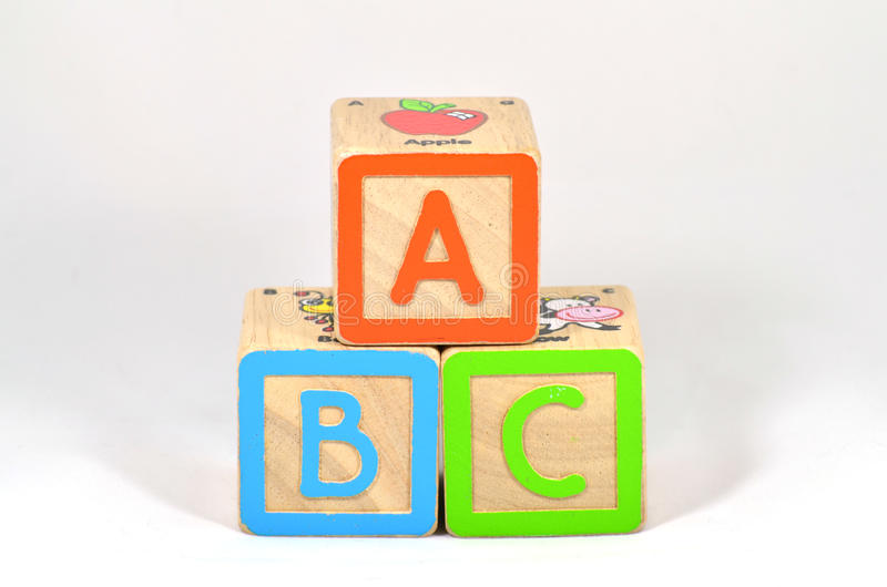 ABC Blocks. ABC building blocks on isolated white background royalty free stock photography