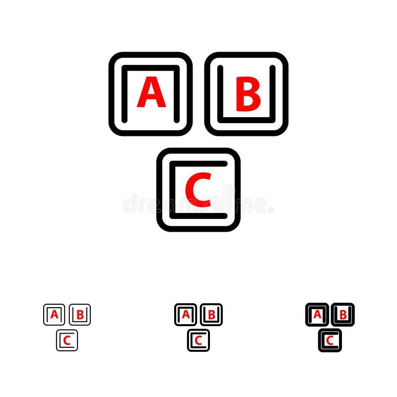 Abc, Blocks, Basic, Alphabet, Knowledge Bold et mince jeu d'icônes de ligne noire illustration stock