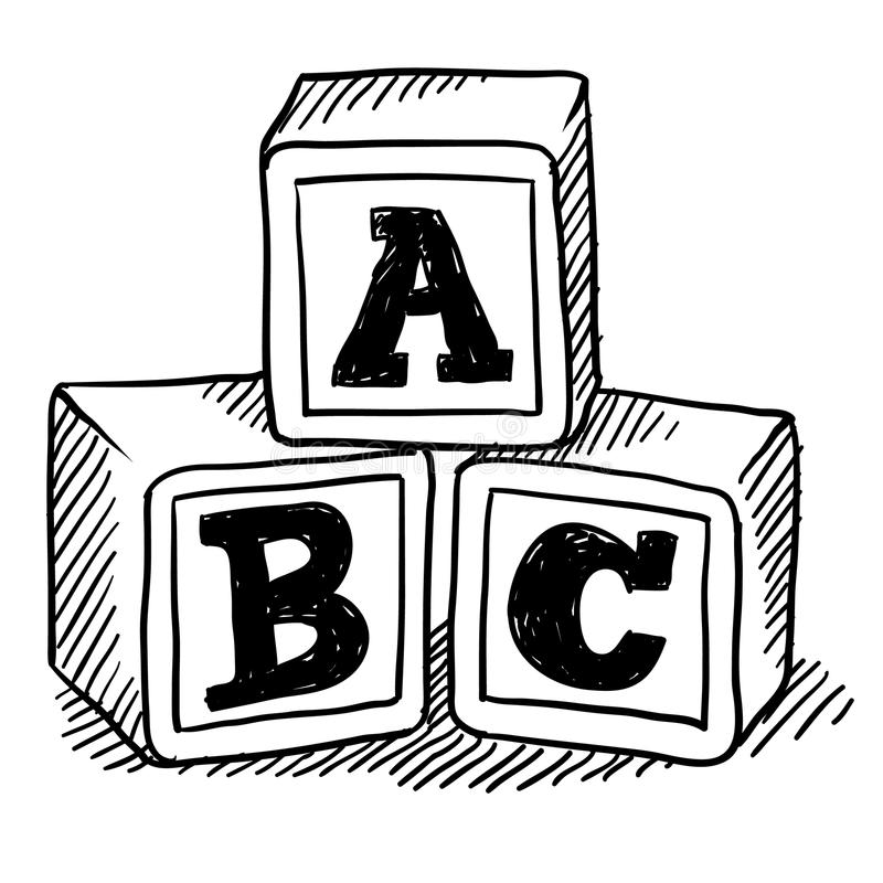 ABC blocks sketch stock vector. Illustration of drawing ...