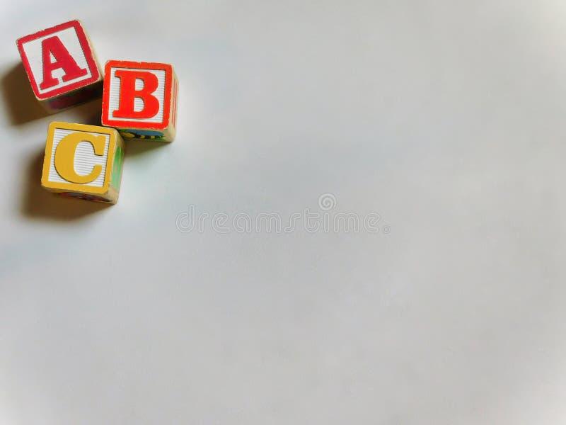 ABC bloki w kącie fotografia stock