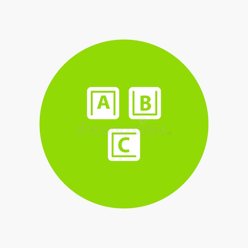 ABC, bloques, básicos, alfabeto, icono blanco del glyph del conocimiento libre illustration