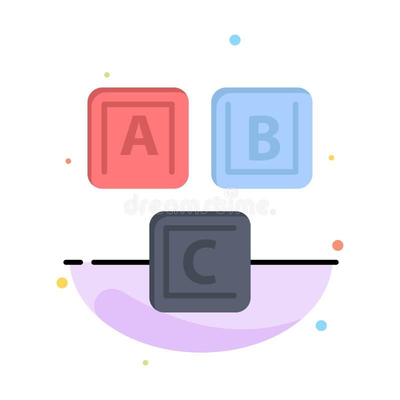 ABC, bloques, básicos, alfabeto, plantilla plana del icono del color del extracto del conocimiento ilustración del vector