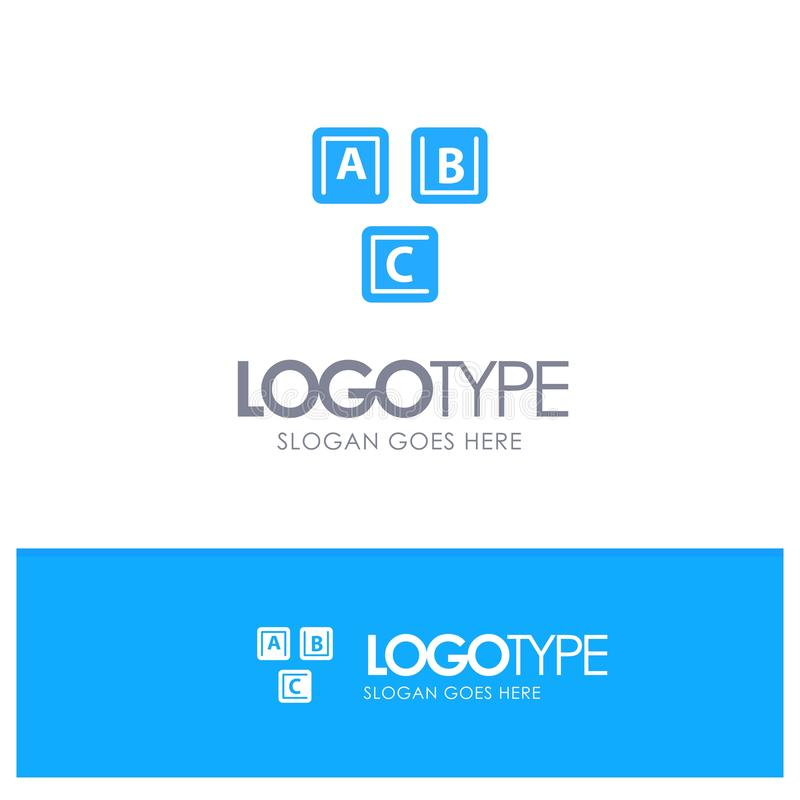 ABC, bloques, básicos, alfabeto, vector azul del logotipo del conocimiento stock de ilustración