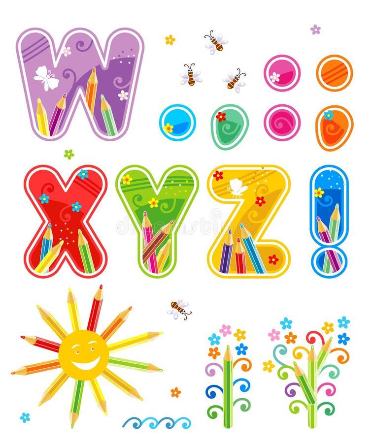 abc-bokstäver plus set w z vektor illustrationer