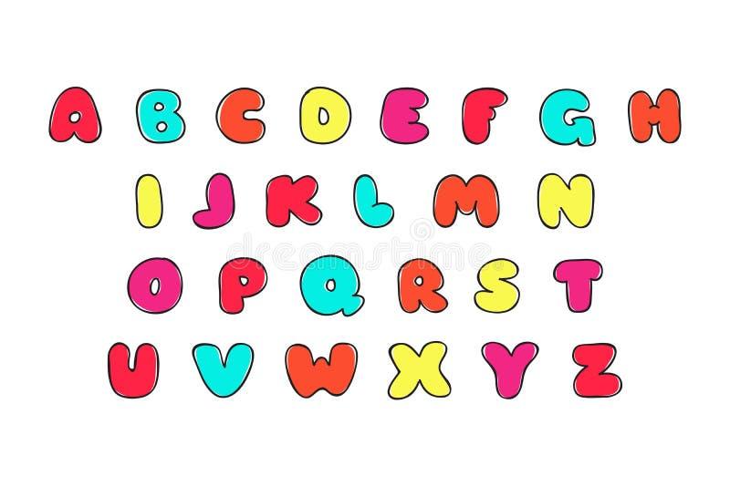 ABC bosqueja la fuente latina Iconos aislados divertidos decorativos de la letra para los niños Símbolos dibujados mano del alfab ilustración del vector