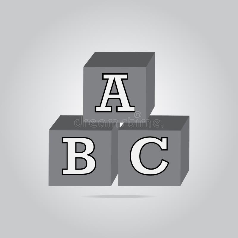 ABC building block icon, Cubes alphabet sign royalty free illustration