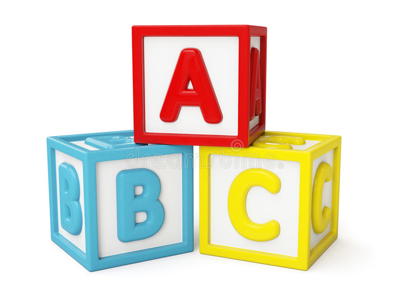 ABC building blocks isolated. ABC alphabet building blocks with letters isolated on white stock photography