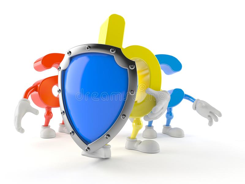 ABC character with protective shield vector illustration
