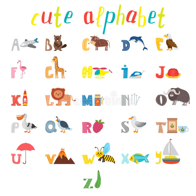 ABC. Children alphabet with cute cartoon animals and other funny royalty free illustration