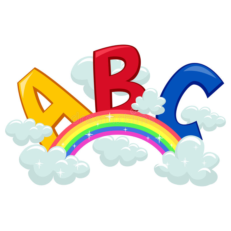 ABC on Clouds and Rainbow. Vector Illustration of ABC on Clouds and Rainbow stock illustration