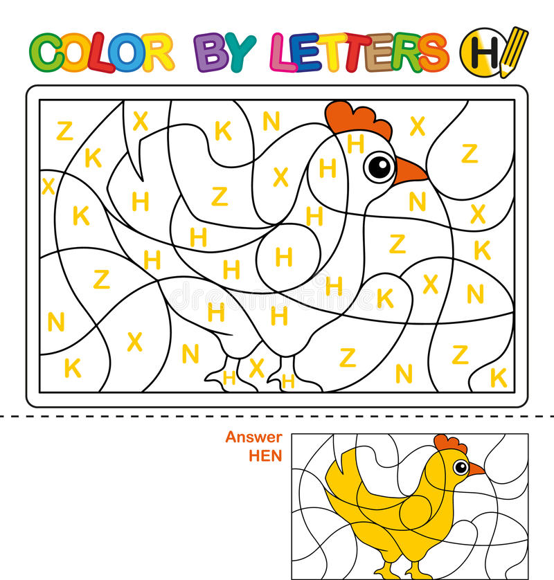 ABC Coloring Book for children. Color by letters. Learning the capital letters of the alphabet. Puzzle for children. Letter H. Hen royalty free illustration