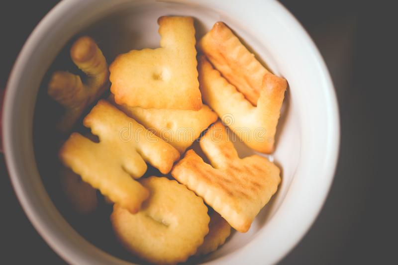 ABC Cookie snack in cup royalty free stock images