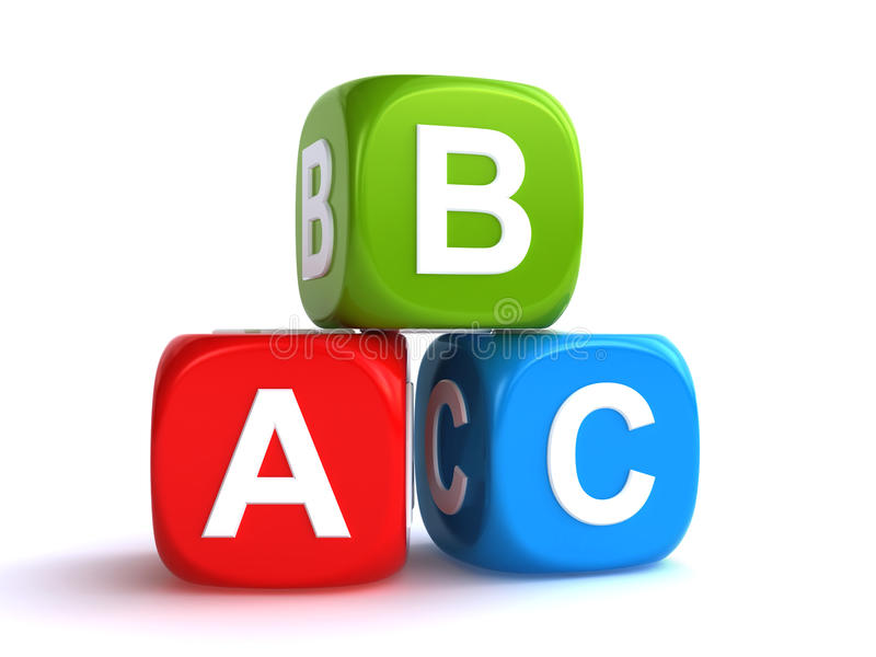 Abc cubes. Colorful abc cubes on the white background 3d render royalty free illustration