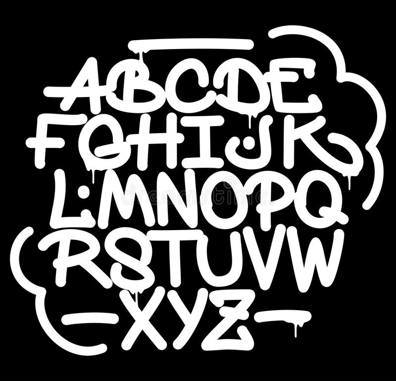ABC de la fuente de la pintada del estilo de la mano ilustración del vector