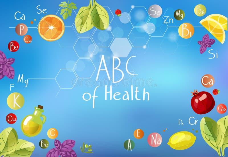 ABC de santé une dispersion des vitamines illustration stock