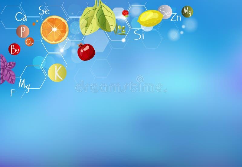 ABC de santé une dispersion des vitamines illustration libre de droits