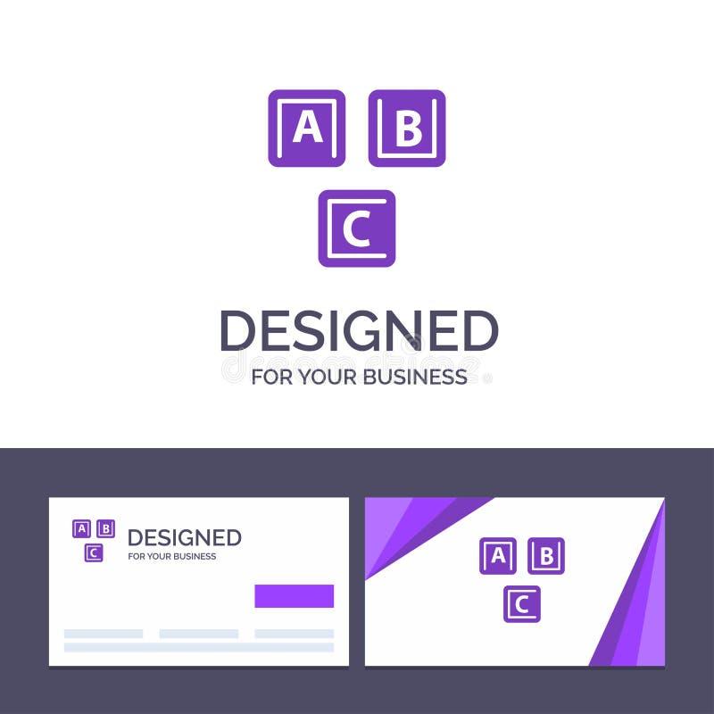 ABC de visita de la plantilla creativa de la tarjeta y del logotipo, bloques, básicos, alfabeto, ejemplo del vector del conocimie libre illustration