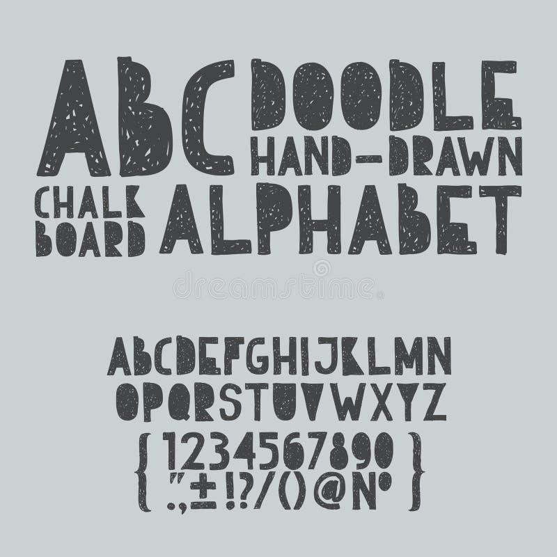 ABC del garabato del drenaje de la mano, tipo del rasguño del grunge del alfabeto libre illustration