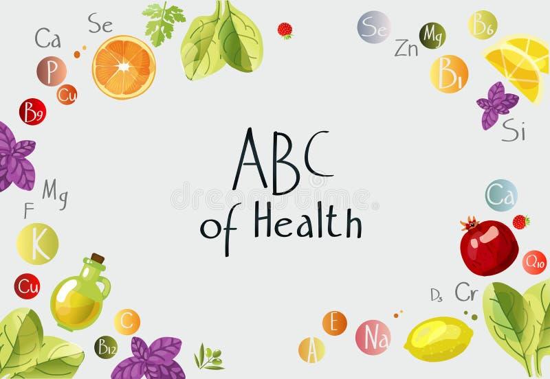 ABC des vitamines et des minerais de santé illustration stock