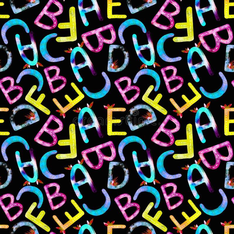 ABC di alfabeto inglese del modello dei bambini royalty illustrazione gratis