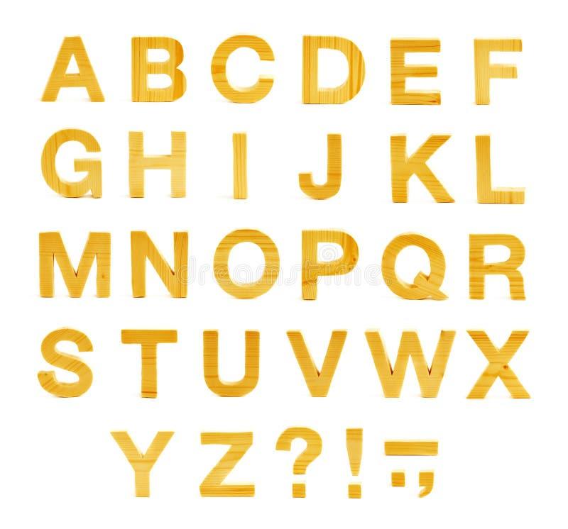 ABC di legno segna l'alfabeto con lettere isolato fotografia stock libera da diritti