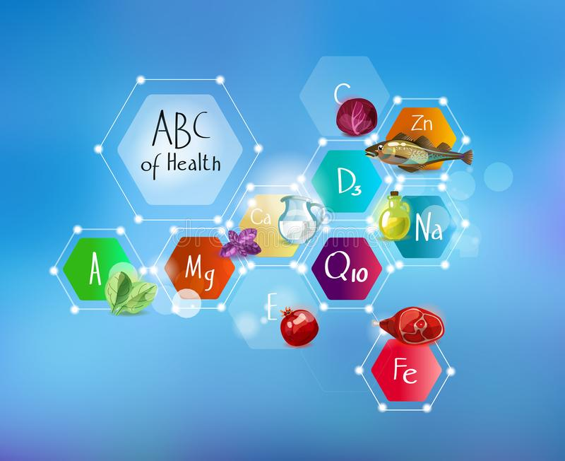 ABC di salute Minerali e vitamine per le sanità e l'alimento Schema astratto royalty illustrazione gratis