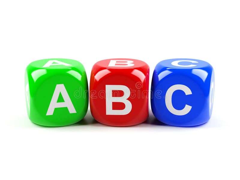 ABC dices. 3d render of ABC dices isolated on white background vector illustration