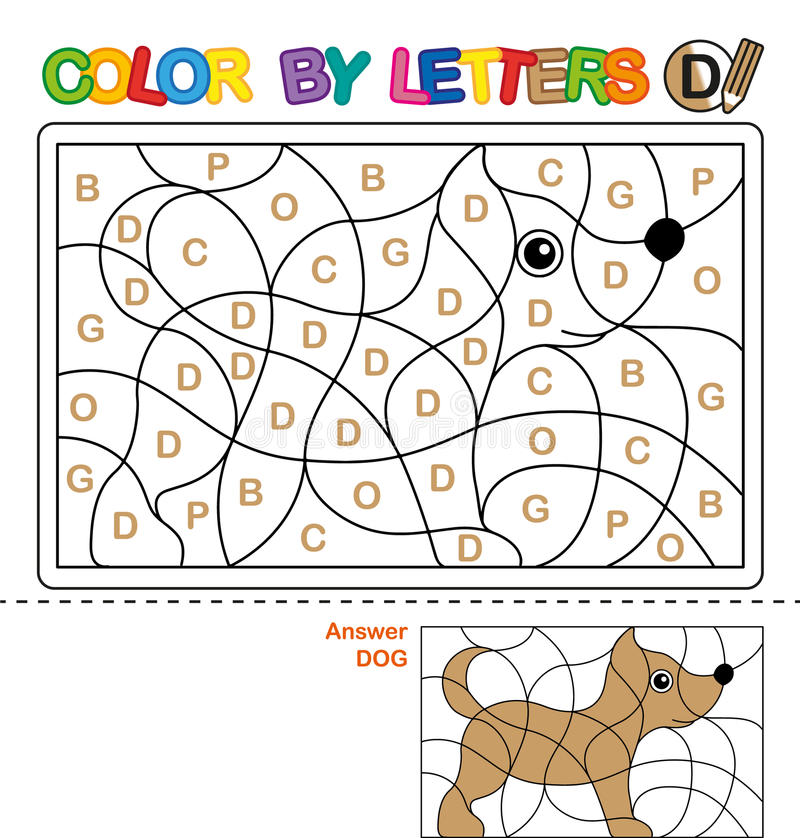 ABC die Boek voor kinderen kleuren Kleur per brieven Het leren van de hoofdletters van het alfabet Raadsel voor kinderen Brief D  stock illustratie