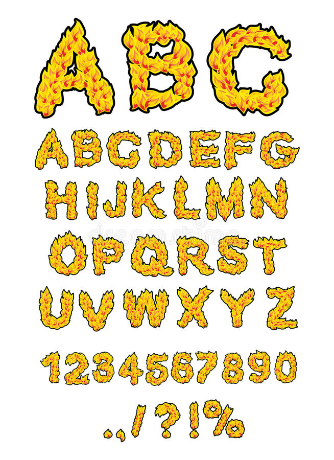 ABC du feu Alphabet de flamme Lettres ardentes Police brûlante Typog chaud illustration de vecteur