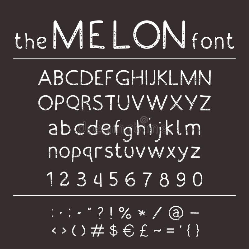 ABC elegante del vector Fuente linda retra del dibujo de la mano - melón ilustración del vector