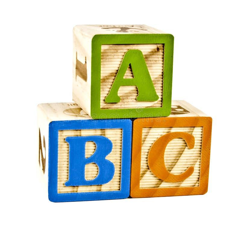 ABC em letras de bloco de madeira imagens de stock royalty free