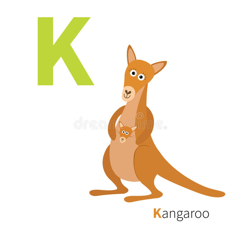 ABC english alphabet. Letter K. Kangaroo mom with baby in the pocket pouch. Cute cartoon character. Australia marsupial animal. Ed. Ucation card for kids. Flat stock illustration