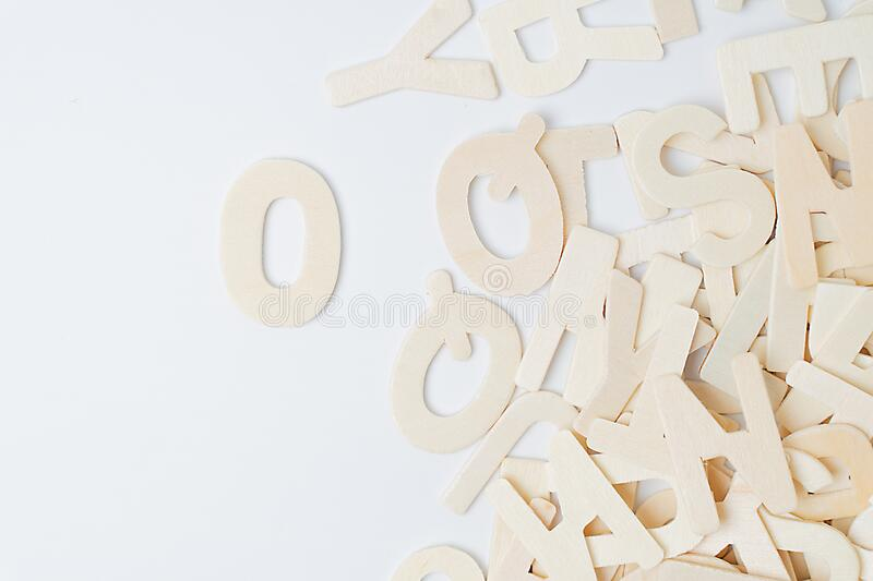 ABC english wood letters on white royalty free stock photo