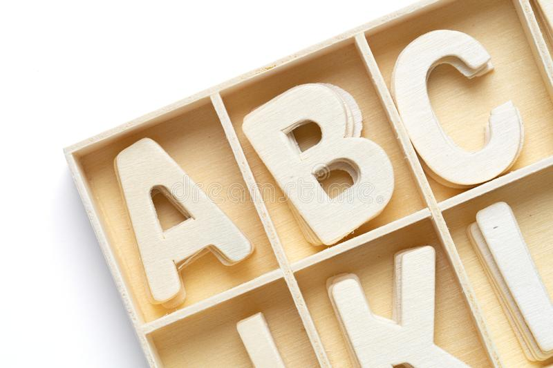 ABC english wood letters on white. Blackground royalty free stock images