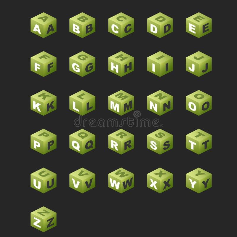 abc-färg skära i tärningar green royaltyfria foton