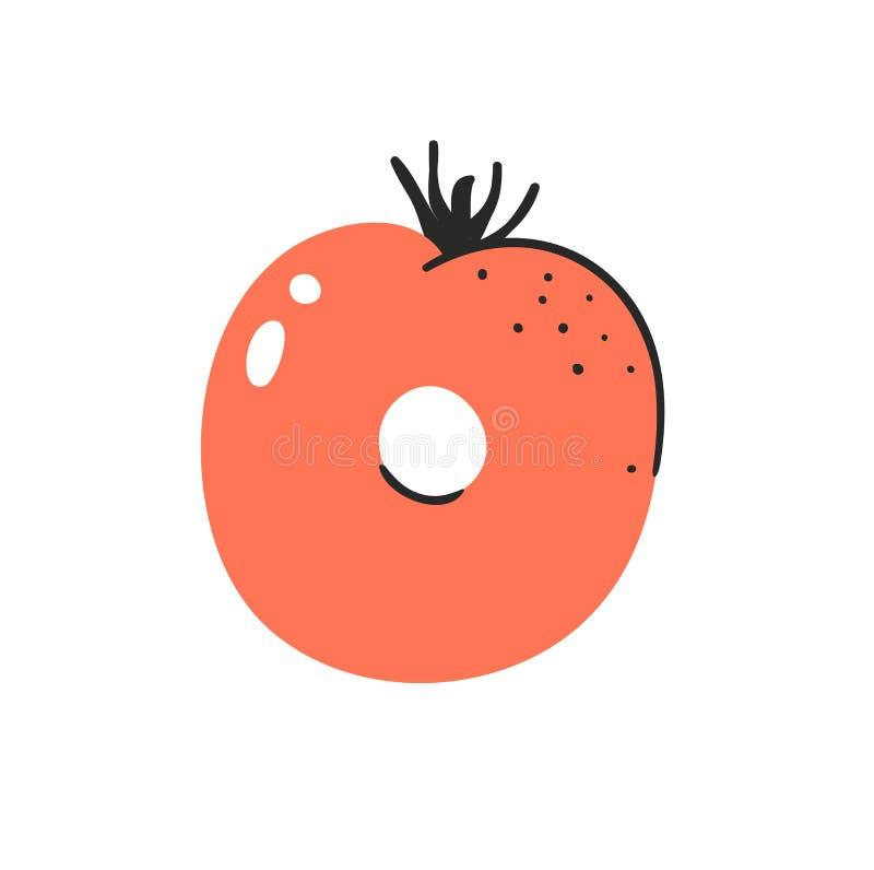 abc för grönsaker och för frukter för tecknad filmvektorillustration Utdragen stilsort för hand med strikt vegetarianmat Vegetari royaltyfri illustrationer