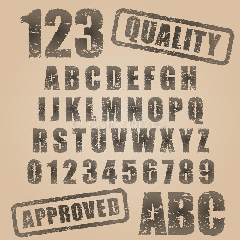 Abc för rubber stämpel för vektor royaltyfri illustrationer