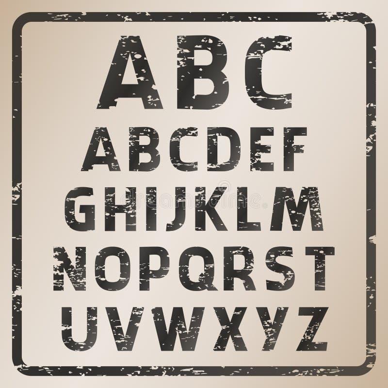 Abc för rubber stämpel för vektor vektor illustrationer