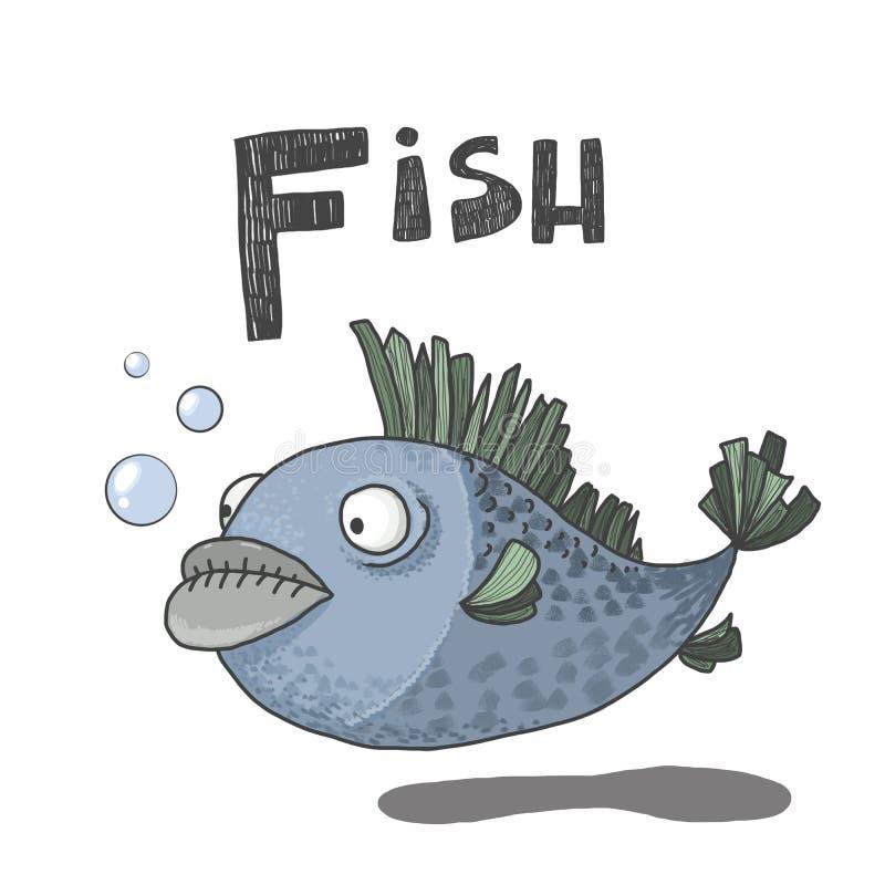 abc: F är för fisk royaltyfri illustrationer