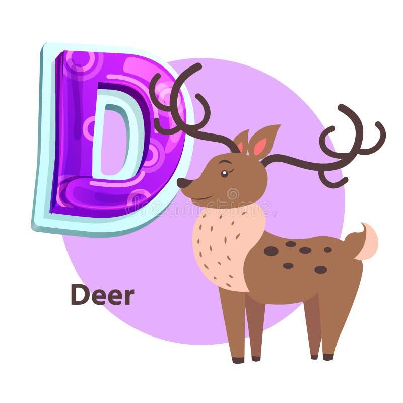 ABC Flashcard con i cervi per la presentazione della lettera di D illustrazione vettoriale