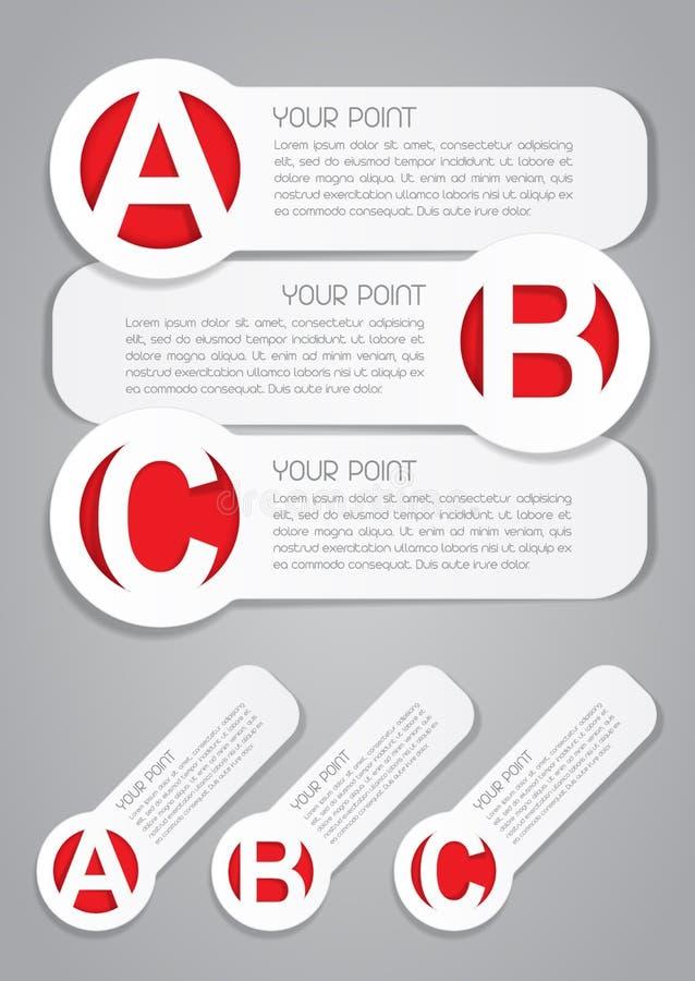 ABC-Fortschritts-Kennsätze im Weiß lizenzfreie abbildung