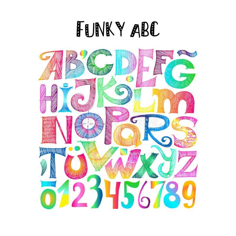 ABC funky Letras esboçado e numerais ilustração do vetor