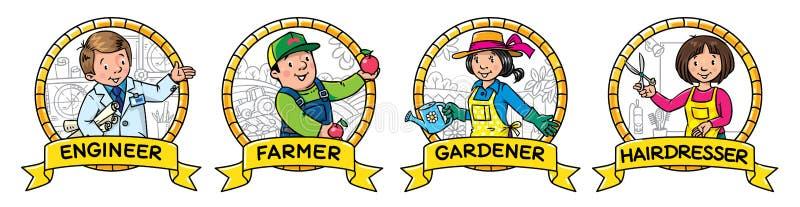 ABC-geplaatste beroepen Ingenieur, landbouwer, tuinman, kapper royalty-vrije illustratie