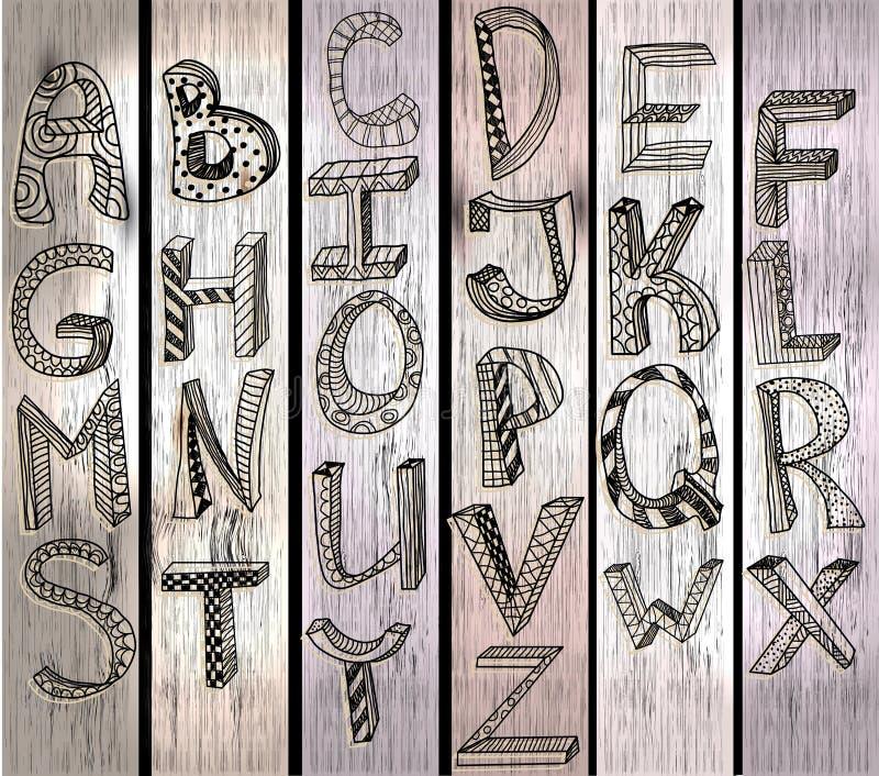 ABC, hand drawn alphabet over wood texture