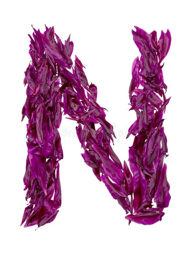 ABC, het alfabet van rode, donkere roze en groene bloembloemblaadjes alfabet van bloemblaadjes van pioenen stock afbeeldingen
