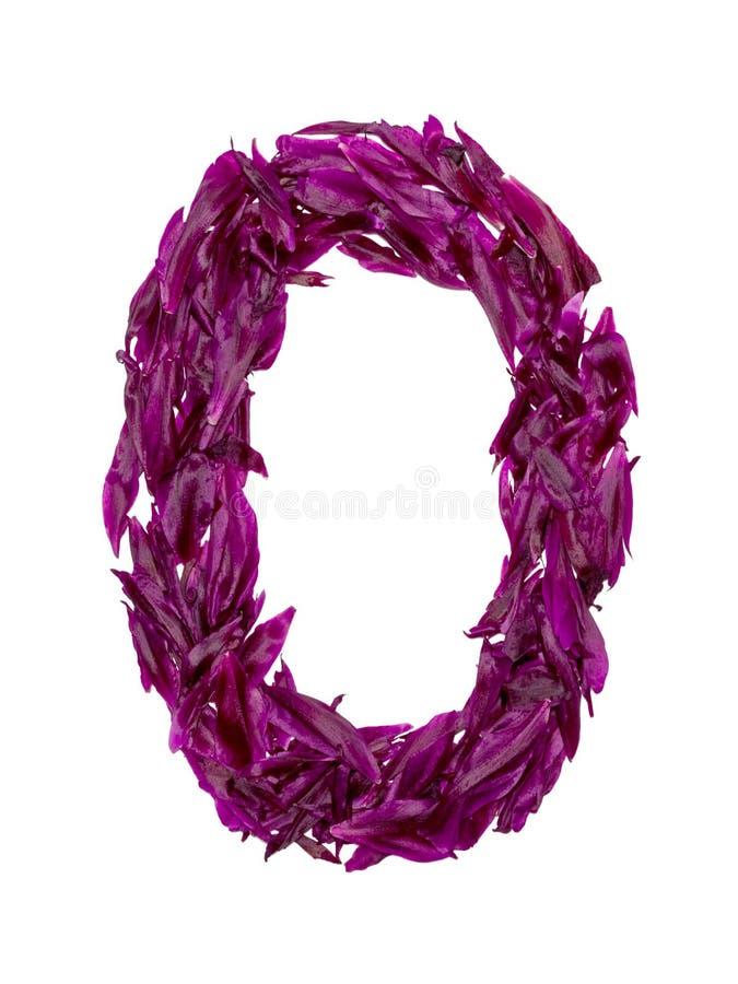 ABC, het alfabet van rode, donkere roze en groene bloembloemblaadjes alfabet van bloemblaadjes van pioenen royalty-vrije stock fotografie