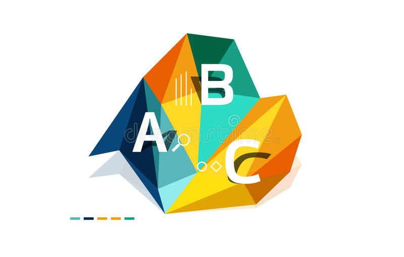ABC infographics. Geometric low poly abstract design vector illustration
