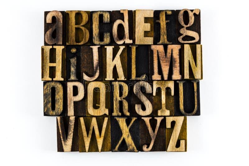 ABC isolato legno dello scritto tipografico di alfabeto immagine stock libera da diritti