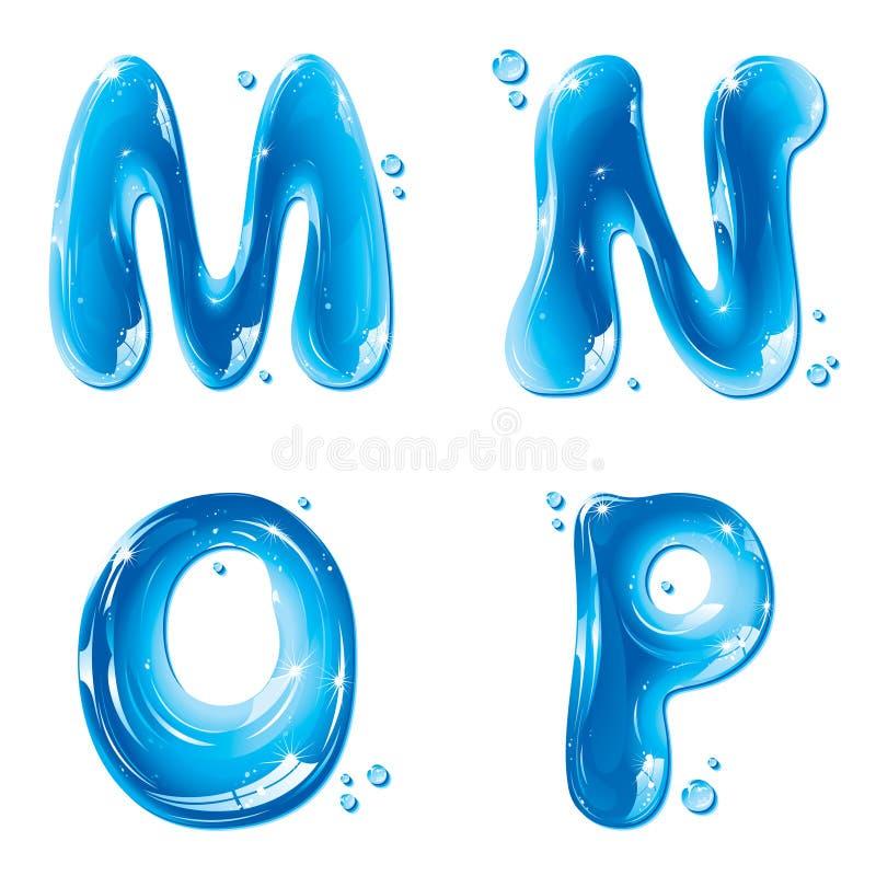 abc kapitałowego listu ciecza m n o p setu woda ilustracji